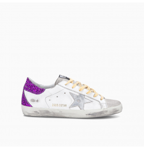 White Super-Star sneakers with glittery purple rear