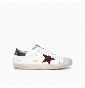 SUPER-STAR SNEAKERS IN LEATHER WITH INSERT AND STAR IN SUEDE WHITE ARMY