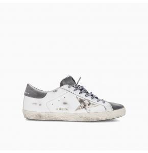 Superstar sneaker with snake-print star and grey suede heel tab