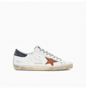 Super-Star sneakers with navy heel tab and suede orange star