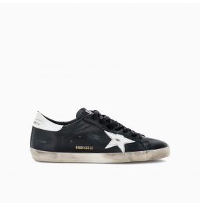Black Super-Star sneakers in leather with white star