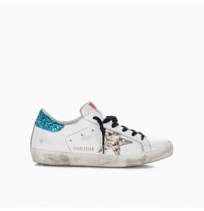 Superstar sneakers with glitter heel tab and snakeprint star
