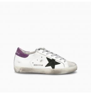 Superstar sneakers with purple suede heel tab