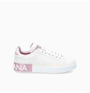 Calfskin nappa Portofino sneakers with lamé details
