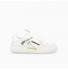 White and gold calfskin VL7N sneaker with bands