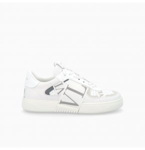 White and silver Calfskin VL7N sneaker with bands