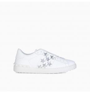 White Silver Open star-print sneakers