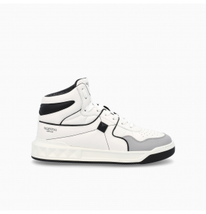 White and black ONE STUD Mid-Top nappa Sneaker