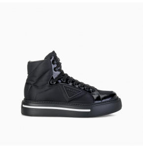 Prada Macro Re-Nylon and brushed leather high-top sneakers
