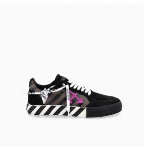 Black Low diag print Vulcanized Sneakers