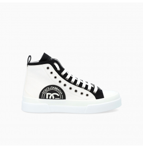 Two-tone canvas Portofino Light mid-top sneakers with DG logo