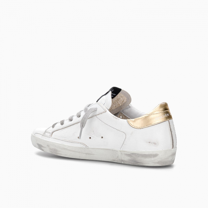 SUPER-STAR SNEAKERS WITH GOLD SPARKLE HEEL TAB WHITE GREEN GOLD