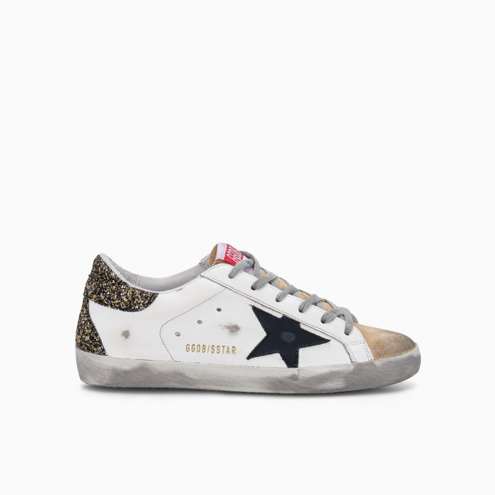 Super-Star sneakers with glitter heel tab and suede upper