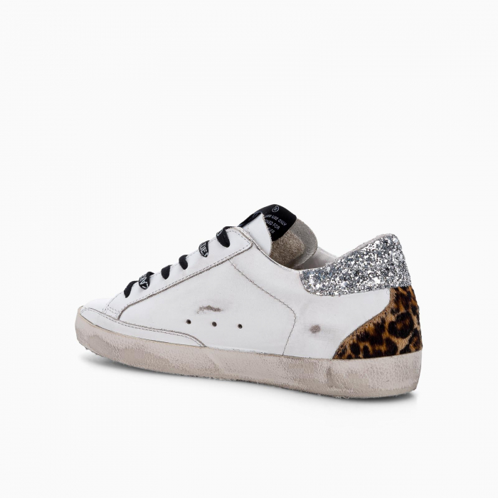 Super-Star sneakers with pink star and glitter detail
