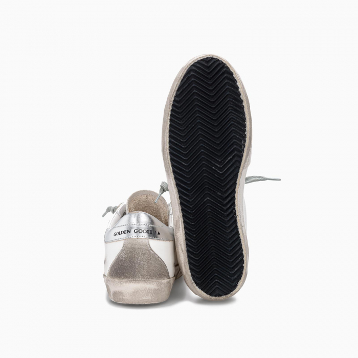 SUPER-STAR SNEAKER WITH SILVER-COLOURED HEEL TAB AND METAL STUD LETTERING WHITE ICE SILVER