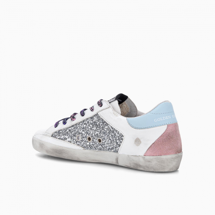 Glittery Super-Star sneakers with suede star and leopard print laces