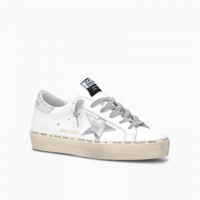 HI STAR SNEAKERS WITH STAR AND HEEL TAB IN METALLIC SILVER WHITE SILVER