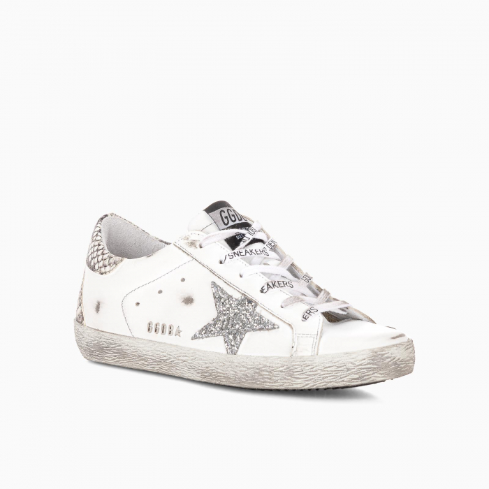 Superstar with snake print heel tab