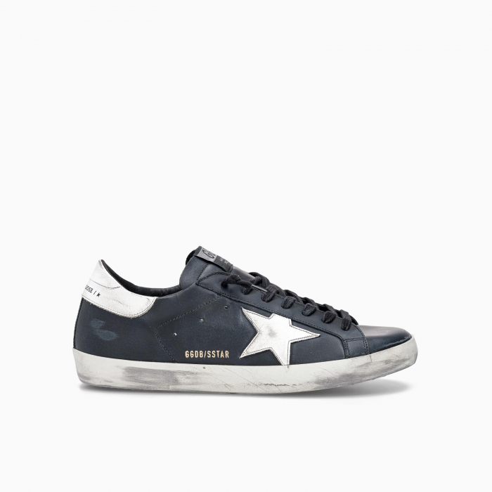 BLACK SUPER-STAR IN LEATHER WITH WHITE STAR BLACK