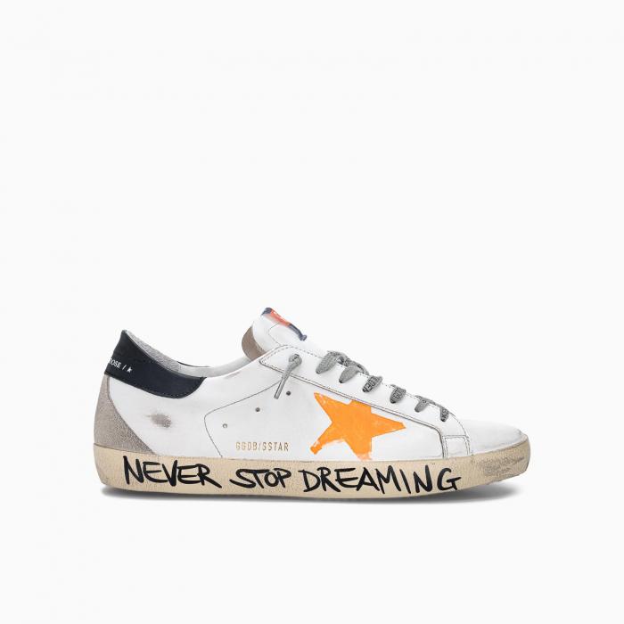 Super-Star low top sneakers with handwritten wording WHITE ORANGE BLACK