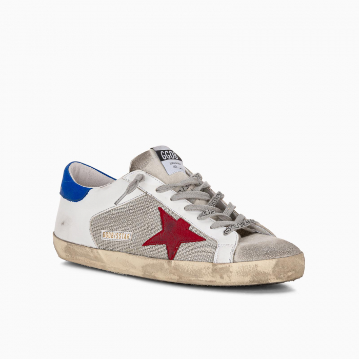 Super-Star sneakers with blue heel tab and mesh inserts