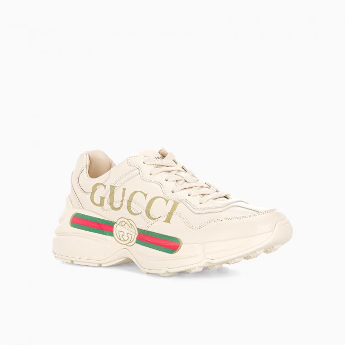 Women's Rhyton Gucci logo leather sneaker