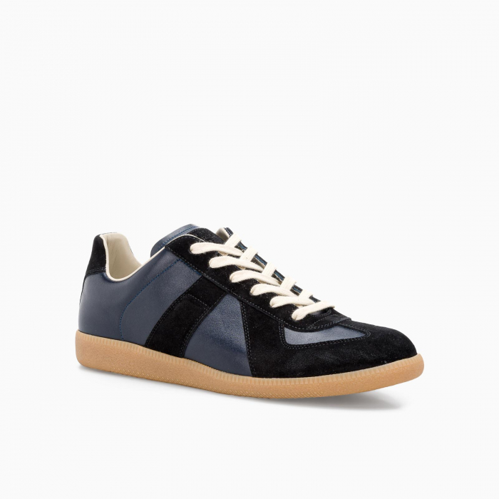 Replica leather sneakers Dark Blue