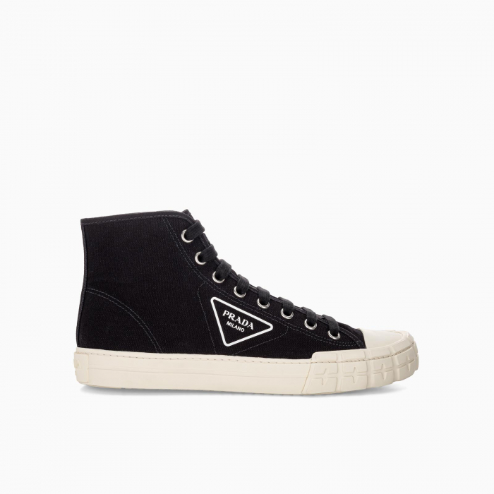Cotton canvas high-top sneakers
