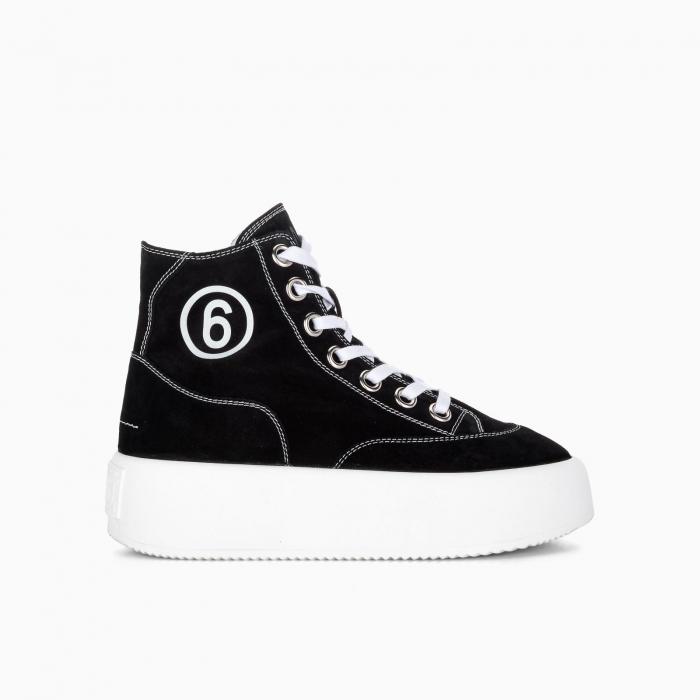 Platform high-top canvas sneakers